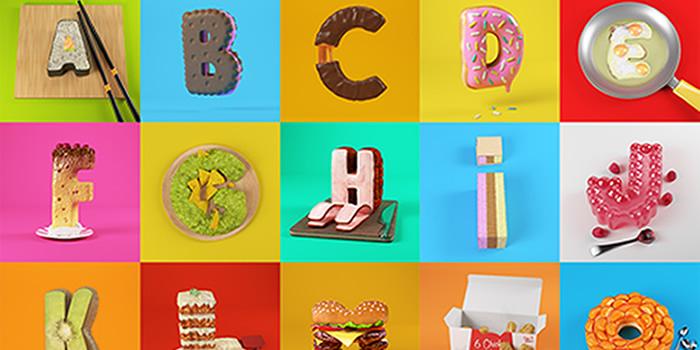 Diseño de apetitoso Alfabeto en 3D